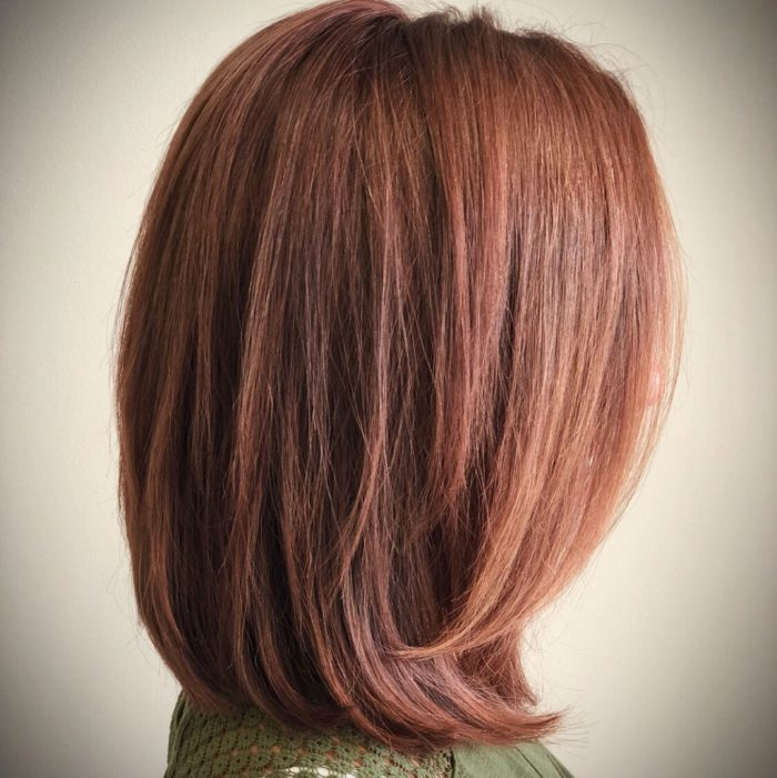 Blunt shoulder length cut and smokey rose gold brown